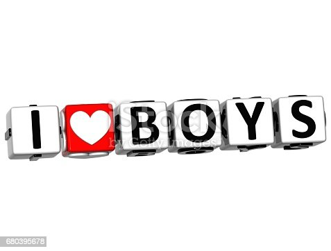 istock 3D I Love Boys Button Click Here Block Text 680395678