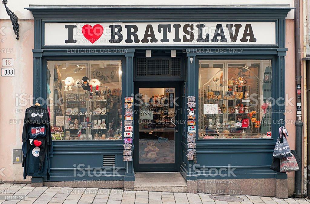 I Love Bratislava Souvenier Shop stock photo