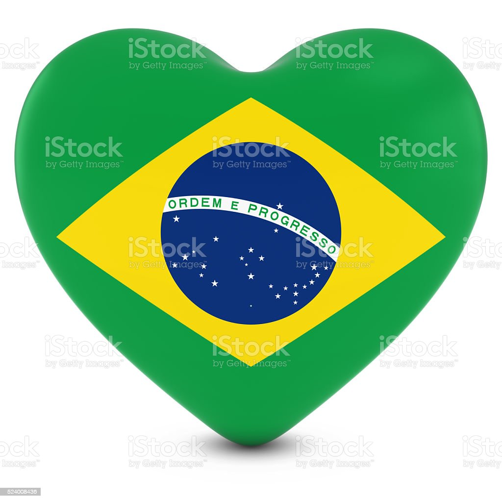 Love Brazil Concept Image - Heart textured with Brazilian Flag stock photo