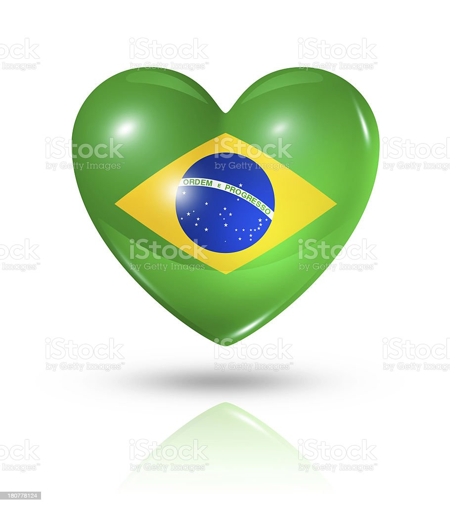 Love Brazil, heart flag icon stock photo