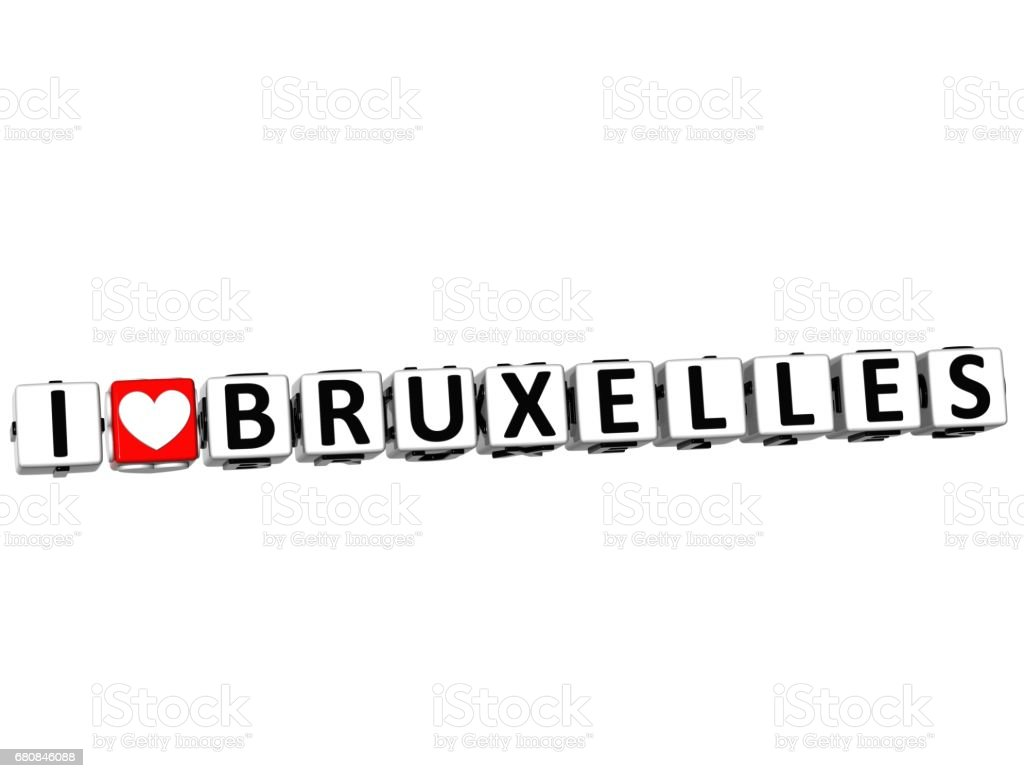 3D I Love Bruxelles Button Click Here Block Text royalty-free stock photo