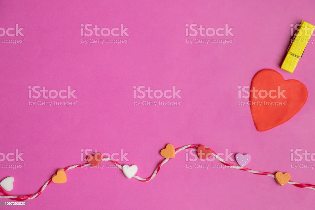 love cartoon doll theme with hearts on pink background, Love icon,...