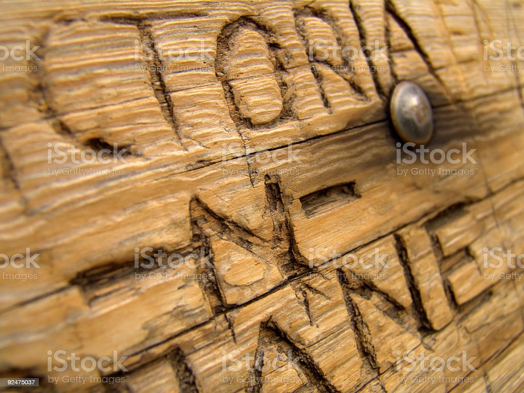love, carved into a bench royalty-free stock photo