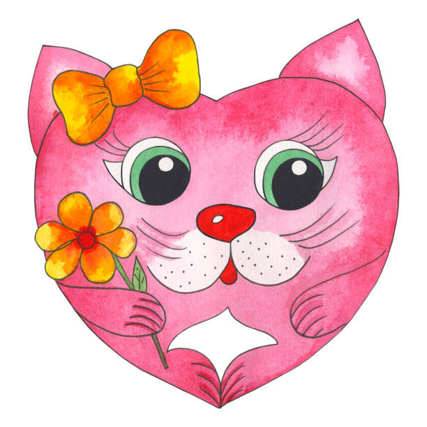 Love cat in shape of heart for Valentine's Day stock photo