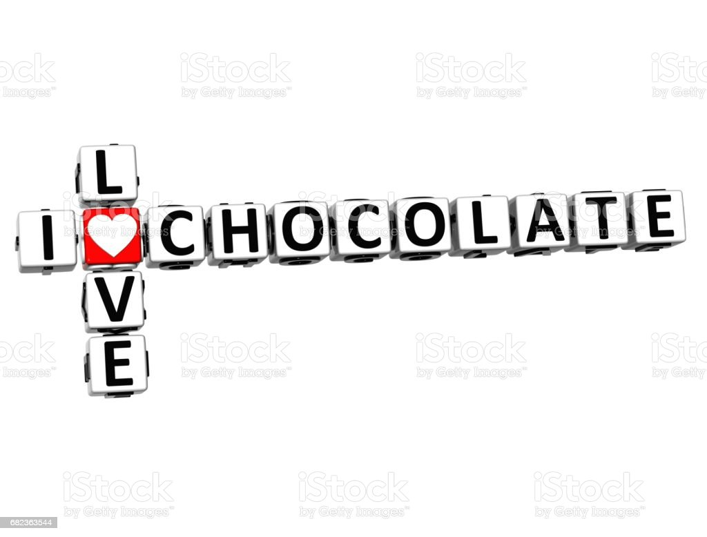 3D I Love Chocolate Crossword foto stock royalty-free