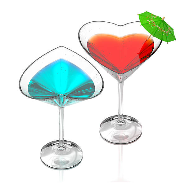 love cocktails-blue & red stock photo