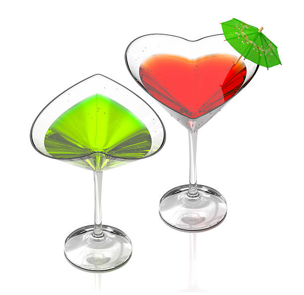 love cocktails-green & red stock photo