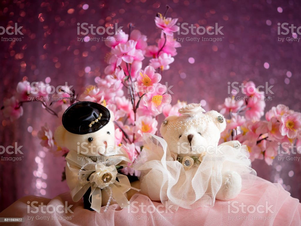 love concept : Couple Teddy Bears in wedding dress , valentine greeting card background stock photo