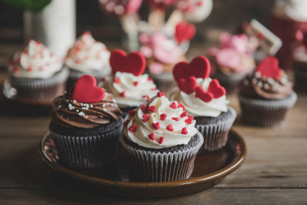 Love concept cupcakes stock photo