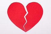 istock love concept - red paper broken heart over white 1271126437