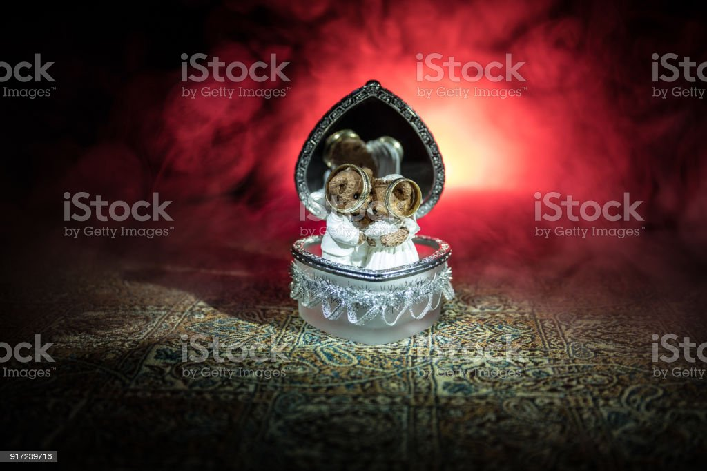 Love Concepts Of Wedding Teddy Bear In Silver Heart Gift Box