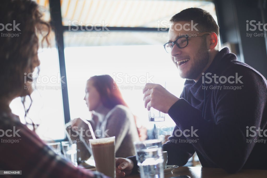 Love couple drinking coffee in cafe bar foto de stock royalty-free
