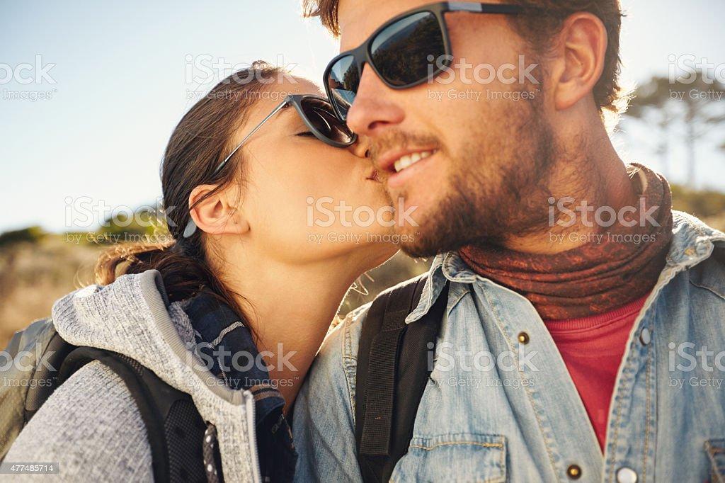 Love couple on a hike stock photo