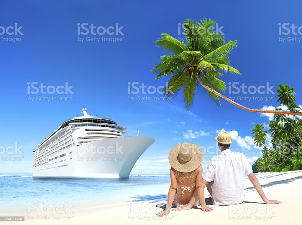 Love Couple sitting at the beach royalty-free stock photo
