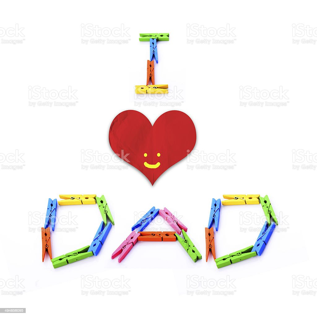 I love Dad message by colourful wooden clothes pins royalty-free stock photo