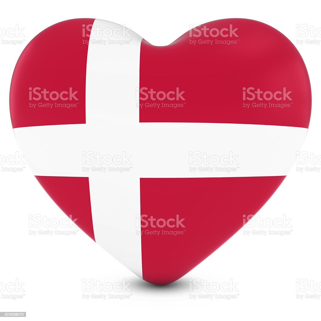 Love Denmark Concept Image - Heart textured with Danish Flag stock photo