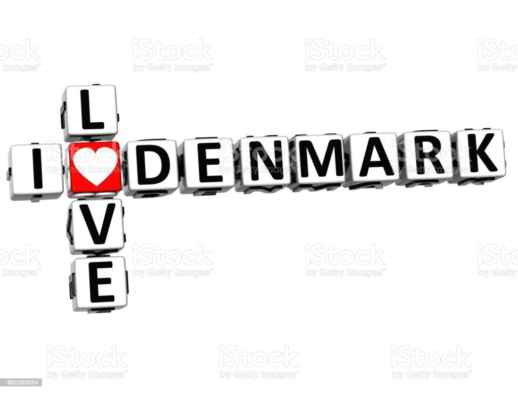 3D-ik hou van Denemarken kruiswoordraadsel royalty free stockfoto