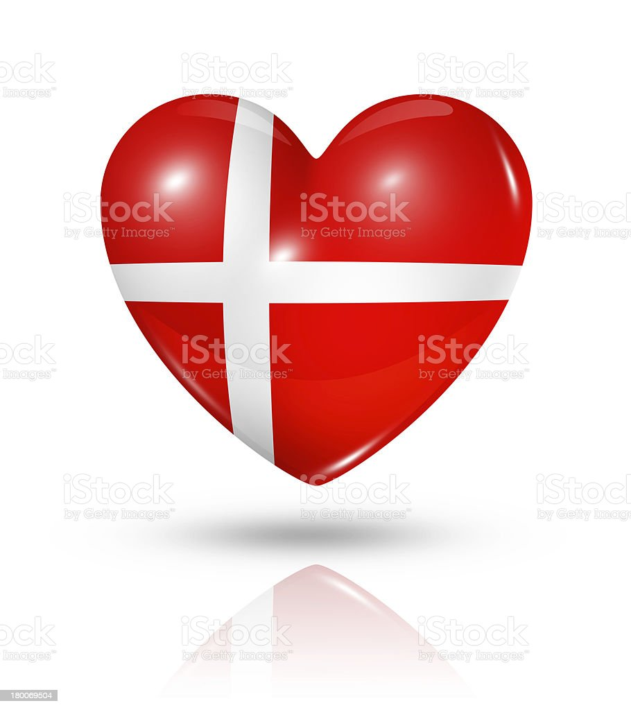 Love Denmark, heart flag icon royalty-free stock photo