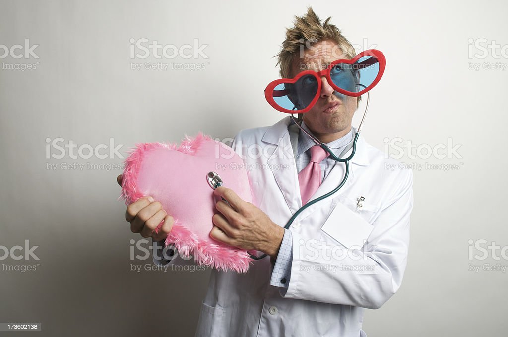 Love Doctor Listens to Fuzzy Heart stock photo