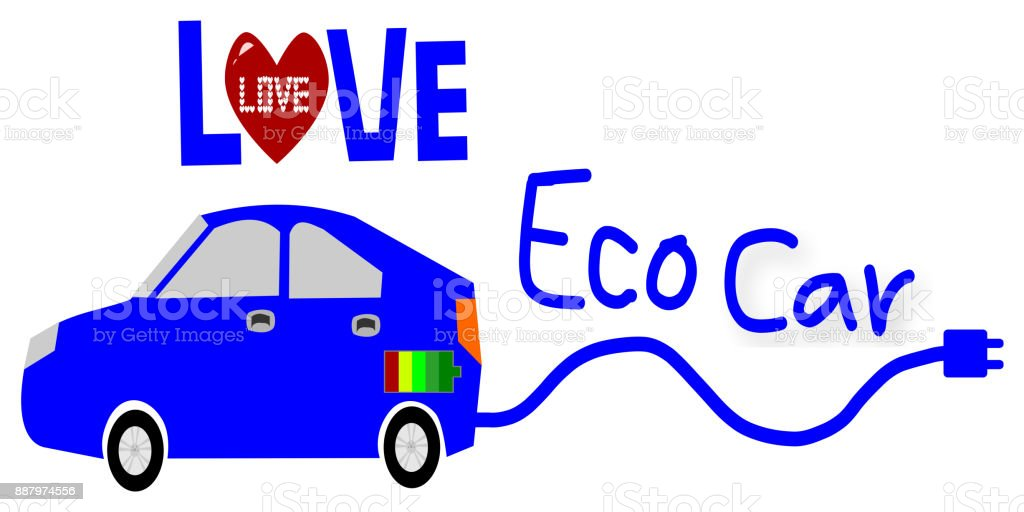 Love Eco car illustration stock photo