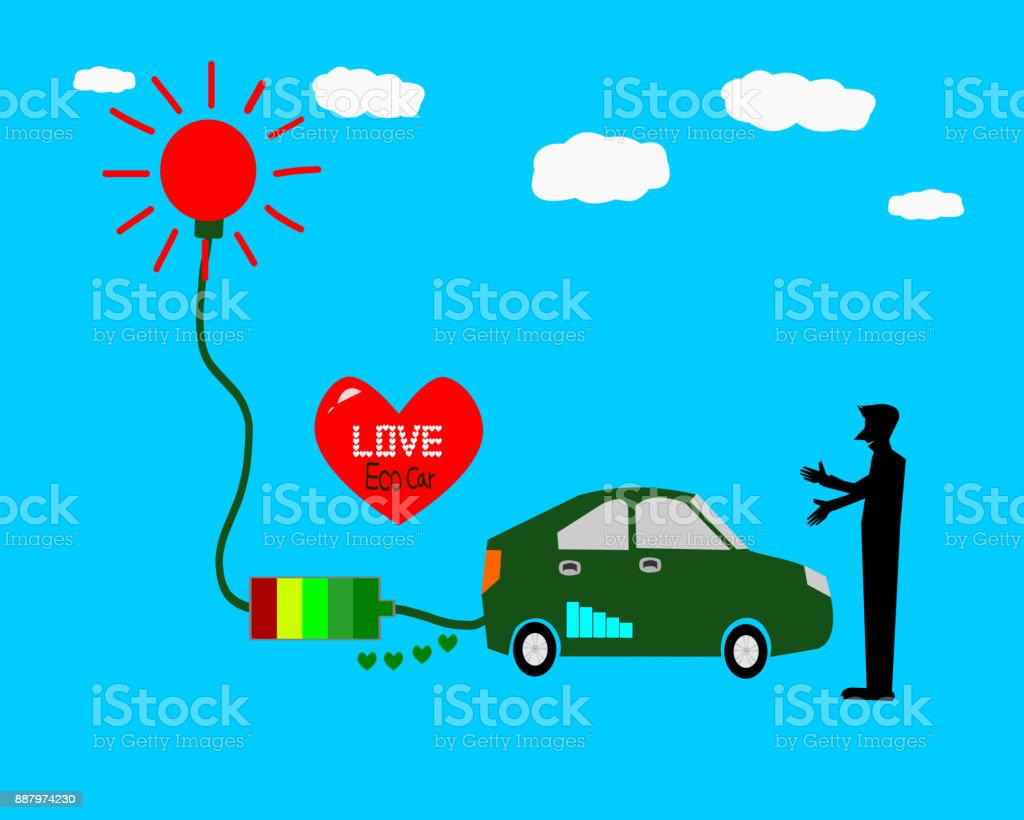 Love Eco car, Solar energy car illustration stock photo