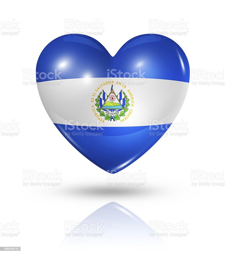 Love El Salvador, heart flag icon stock photo