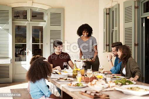 Shot of a group of people sharing a meal