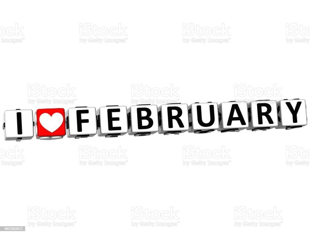 3D I Love February Button Click Here Block Text zbiór zdjęć royalty-free