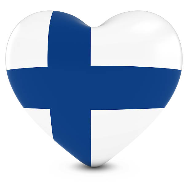Love Finland Concept Image - Heart textured with Finnish Flag stock photo