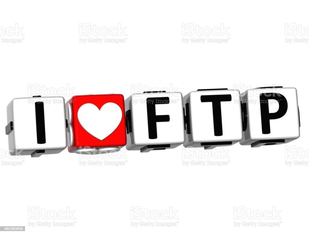 3D I Love FTP Button Click Here Block Text zbiór zdjęć royalty-free