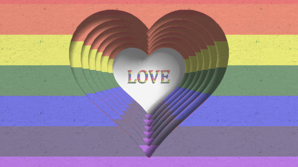 Love Gay Pride LGBT Community Mardi Gras paper cutout title 3D render LGBT community and Mardi Gras gay pride graphic background conceptual paper cutout title 3D render. The letters LGBT & LGBTQIA refer to lesbian, gay, bisexual, transgender, queer or questioning, intersex, and asexual or allied. cisgender stock pictures, royalty-free photos & images