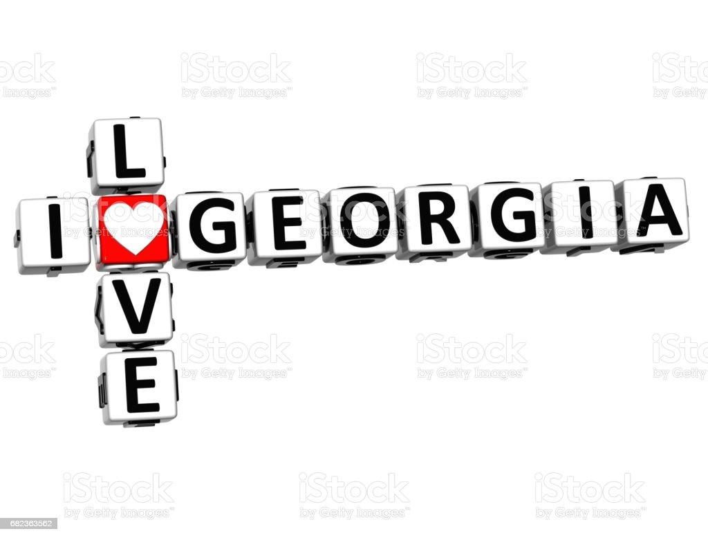 3D I Love Georgia Crossword zbiór zdjęć royalty-free