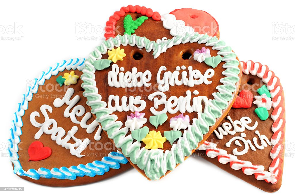 Love gingerbread cookie heart with german words greetings from love gingerbread cookie heart with german words greetings from berlin royalty free stock photo m4hsunfo