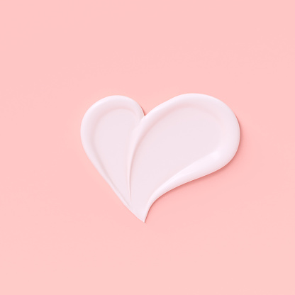 Love girly background. Cosmetic cream pastel pink and white template banner with heart shape smear. 3d rendering.