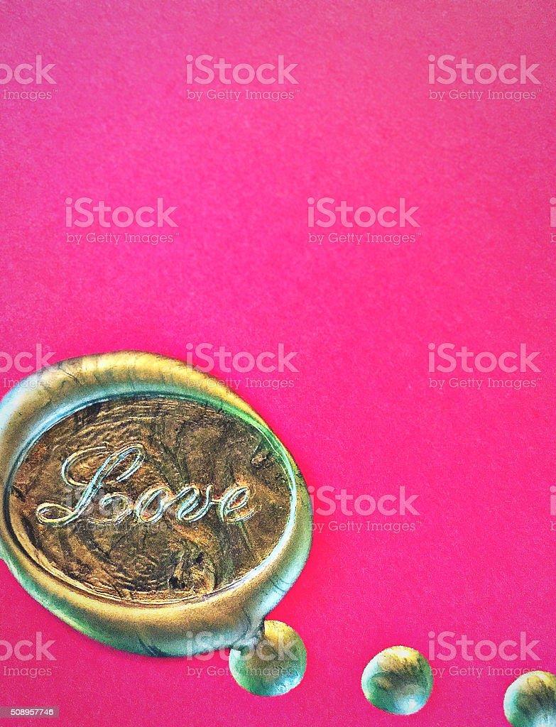 cc9087ad4b0e Amor oro estampados fondo rosa Cera de sellado foto de stock libre de  derechos