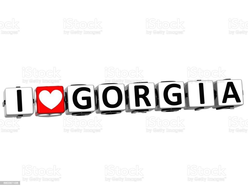 3D I Love Gorgia Button Click Here Block Text stock photo