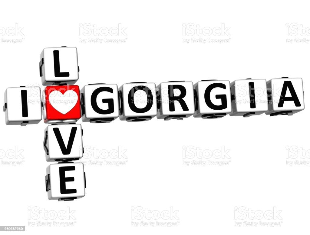 3D I Love Gorgia Crossword stock photo