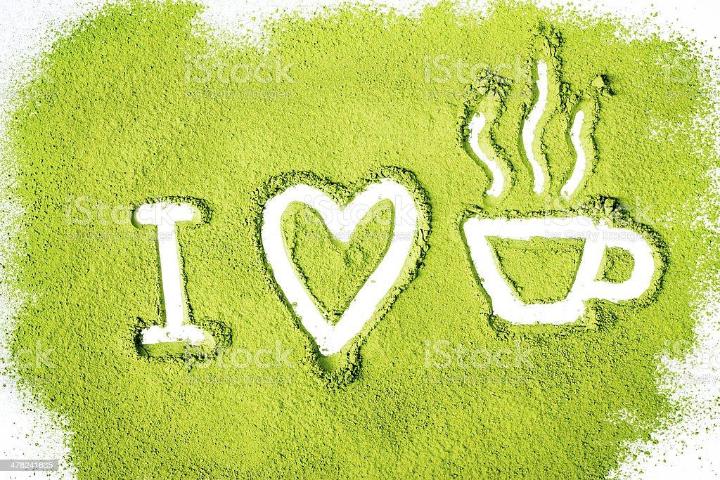 I love green tea stock photo
