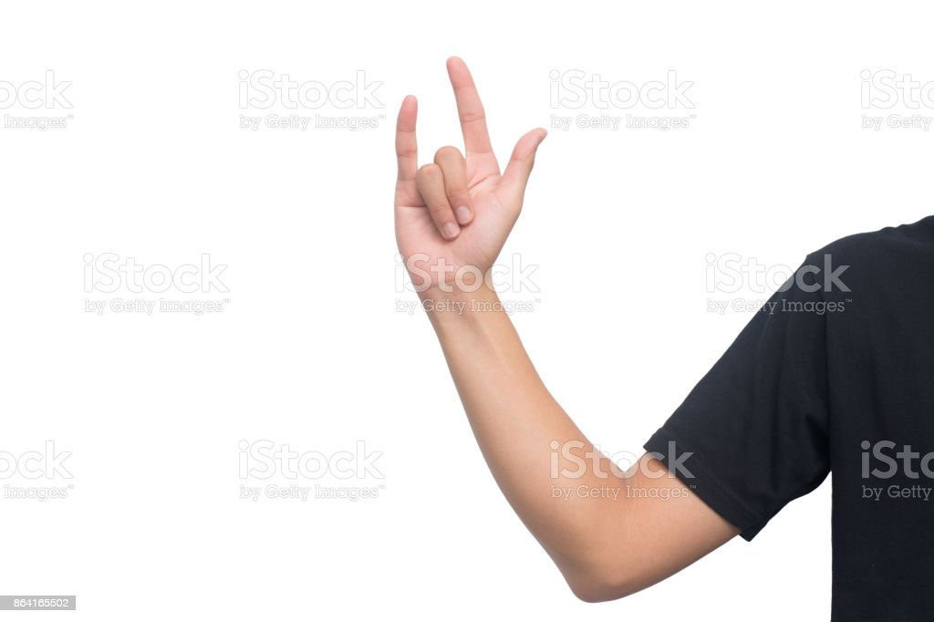 Love hand sign isolated on white background with clipping path royalty-free stock photo