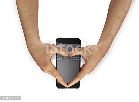 Love hand sign and mobile phone