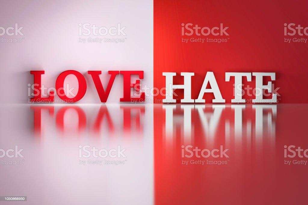 Love Hate words stock photo
