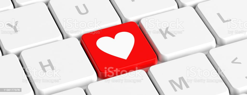 Love Health Red Key Button With Heart Sign On A Computer Keyboard Banner 3d Illustration Stock Photo Download Image Now Istock