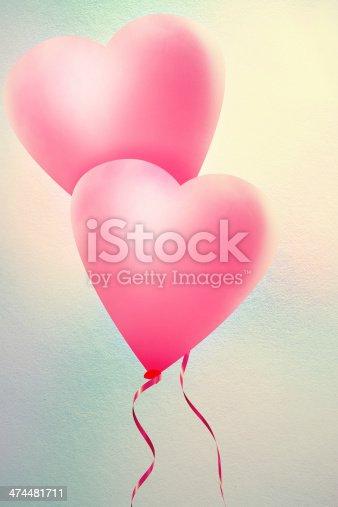 istock Love Heart Balloon in Vintage Blue Sky. 474481711
