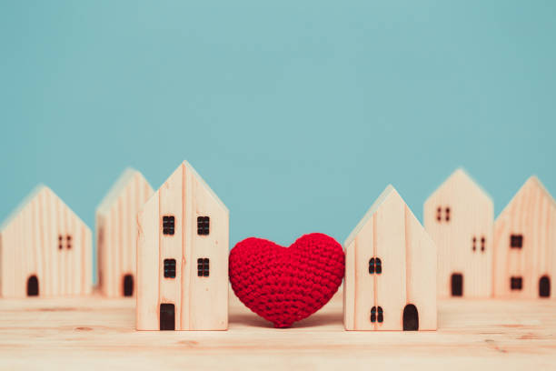 love heart between two house wood model for stay at home for healthy community together concept. - vizinho imagens e fotografias de stock