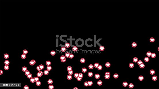 istock love heart icons on Facebook live video isolated on black background. Social media network marketing. Application advertising. 3d abstract illustration 1089357366