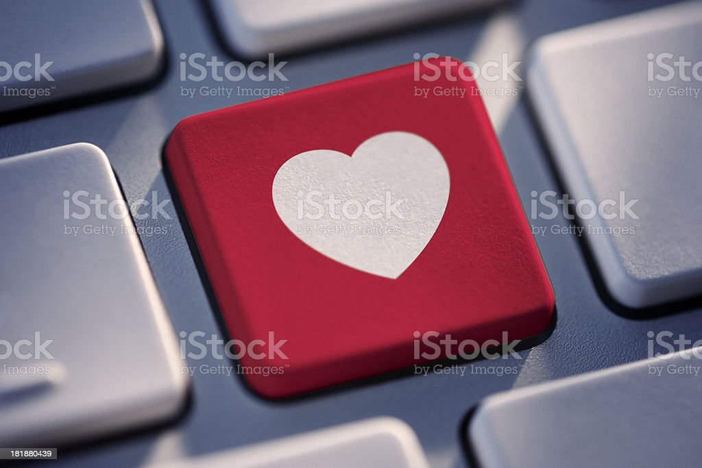 Love Heart Key On Computer Keyboard stock photo