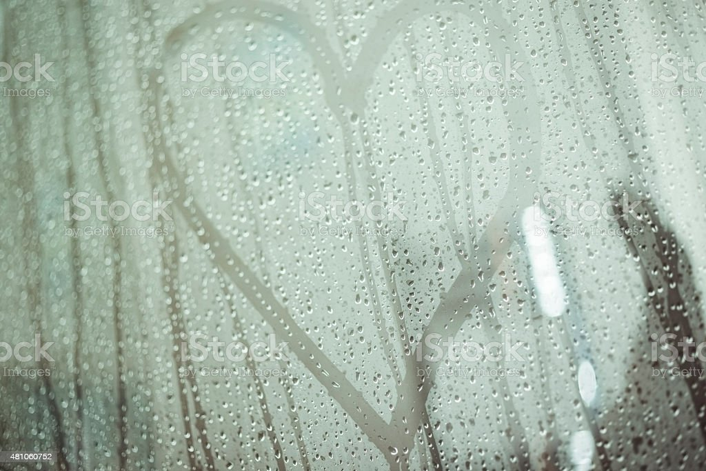 Love Heart on a shower screen stock photo