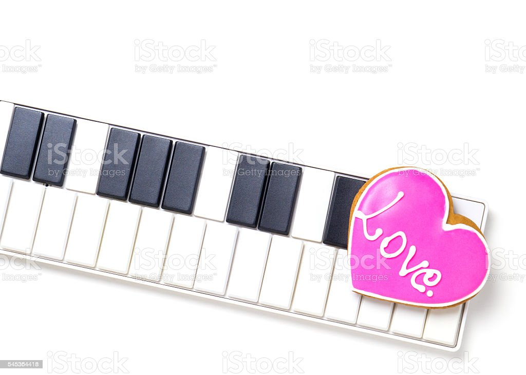 Love Heart On Music Keyboard For Valentines And Music Love Stock