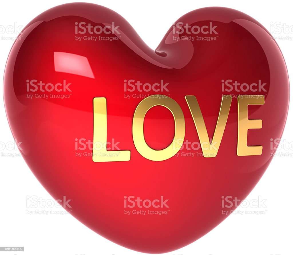 Love heart shape icon colored red golden royalty-free stock photo