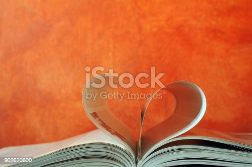 istock Love heart shape with opened book 902620600